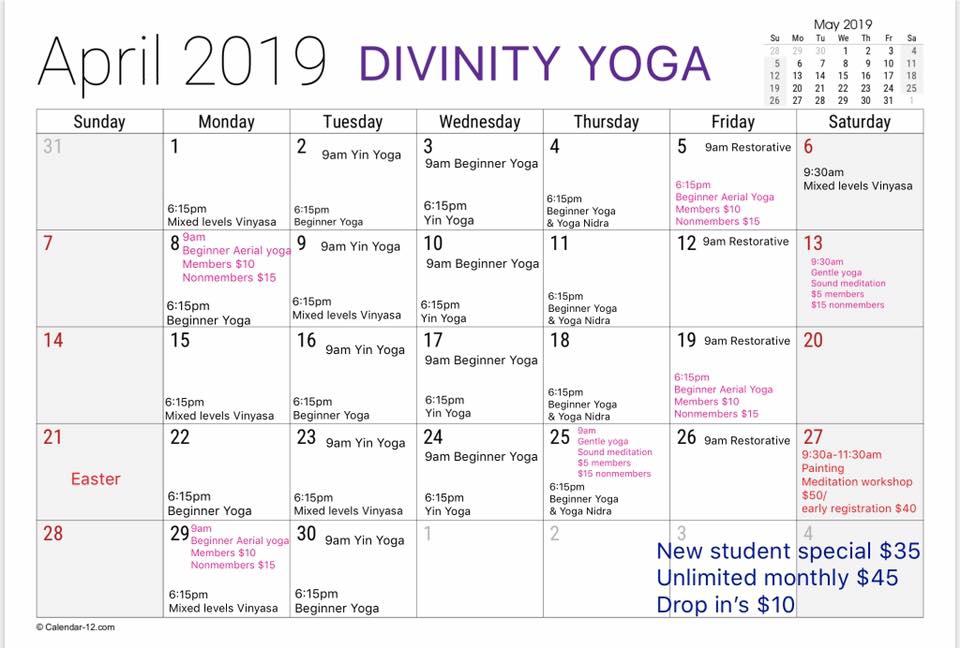April 2019 Schedule